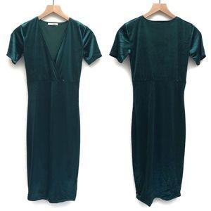 Zara Trafaluc Teal Green Velvet Dress - Size S